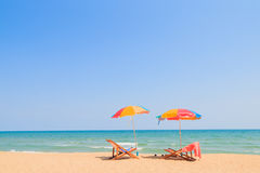 Beach chair and umbrella Stock Image