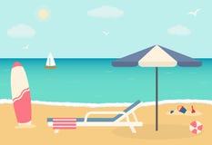 Beach chair with umbrella on sandy beach. Royalty Free Stock Image