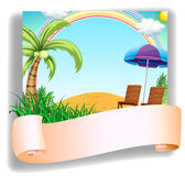 A beach chair and an umbrella with a signage Stock Photography