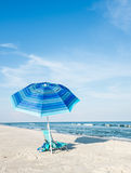 Beach Chair and Umbrella. At St. George Island, Florida royalty free stock images