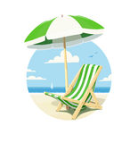 Beach chair and umbrella for summer rest Royalty Free Stock Photography