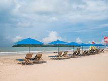 Beach Chair with Umbrella on the Beach. With Sunny Day. Location in Langkawi Malaysia royalty free stock photo