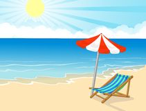 Beach chair and umbrella on tropical beach Royalty Free Stock Photography