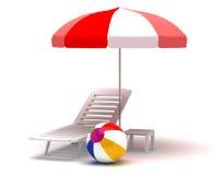 Beach Chair and Umbrella Stock Photos