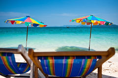 Beach chair under the umbrella of colorful on the beach Phuket, Stock Image