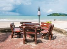 Beach Chair on The Beach. With view of Waves. Located in Cenang Beach Langkawi Malaysia royalty free stock photography