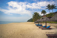 Beach chair. On White sand blue sea background at Phuket Thailand royalty free stock images