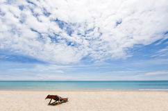 Beach chair on white sand overlooking Andaman Royalty Free Stock Images
