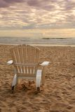 Beach chairs. Empty beach chair watching the sunset Stock Photography
