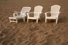 Beach chairs. Family of beach chairs Stock Photography