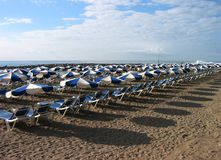Beach chairs. Early morning on beach on Tenerife-Spain Stock Images
