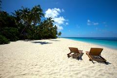 Beach Chairs!. Beach chairs viewing beautiful tropical Beach Stock Photography