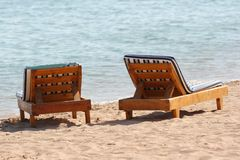 Beach chairs Stock Photos