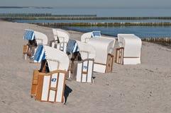 Beach chairs. Baltic sea beach with beach chairs Royalty Free Stock Image