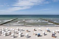 Beach chairs. Baltic sea beach with beach chairs Stock Photography