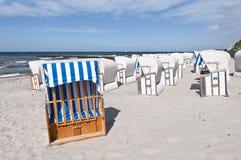 Beach chairs. Baltic sea beach with beach chairs Stock Photos