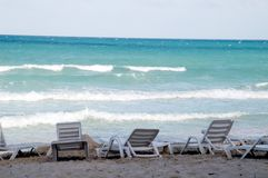 Beach chairs. In a very hot day in cuba stock photo