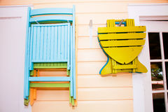 Beach Chairs. Wooden beach chairs in a tropical beach cottage Royalty Free Stock Photo