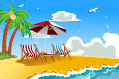 Beach chairs. A vector illustration of beach chairs on the tropical beach Royalty Free Stock Photos