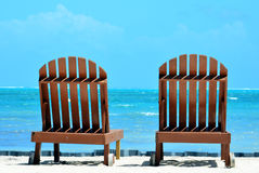 Beach Chairs. With a Caribbean view of the Barrier Reef Stock Images