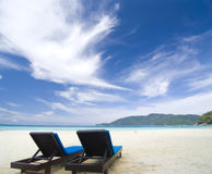 Beach with chairs. Group of beach with chairs royalty free stock photos