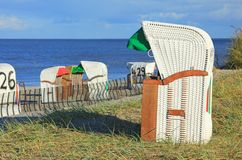 Beach chairs. In the sand dunes on the North Sea, Germany Stock Image