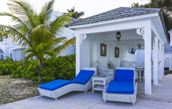 Beach chairs. In front of a pavilion in Montego Bay, Jamaica Stock Photo