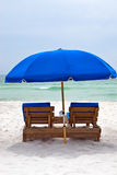 Beach Chairs. Beach chair along the waters edge of the Gulf of Mexico in Panama City Beach Florida Royalty Free Stock Photography