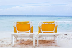 Beach chairs. Beach vacations chairs in tropical cancun Stock Photography