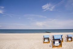 Beach chairs on the Baltic Sea beach stock image
