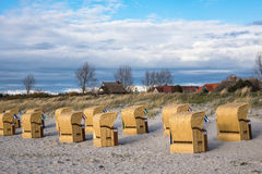 Beach chairs on the Baltic Sea coast Royalty Free Stock Image
