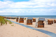 Beach chairs, baltic sea Stock Photography