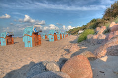 Beach chairs at baltic sea (HDR) Stock Photo