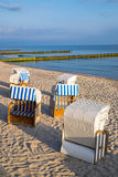 Beach chairs at the Baltic Sea Royalty Free Stock Photos