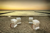 Beach chairs, baltic sea at sunset Royalty Free Stock Image