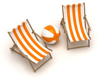 Beach Chairs and Beach Ball. ( on white background Stock Images
