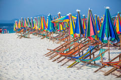 Beach chairs on the beach Royalty Free Stock Images