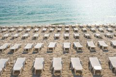 Beach chairs on the beach. Without people Royalty Free Stock Photography