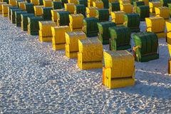 Beach chairs on the beach in Ruegen Island Royalty Free Stock Photo