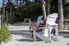Beach chairs by the beach Royalty Free Stock Images