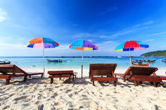 Beach chairs on the beach Royalty Free Stock Photo