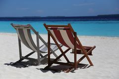 Beach, Chairs, Beautiful Royalty Free Stock Images