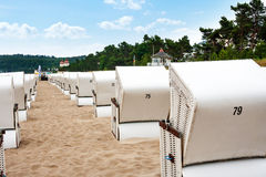 Beach chairs in Binz at the beach Stock Photography