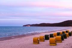 Beach chairs in in Binz, Ruegen Island, Germany. Beach chairs in in Binz, Ruegen Island Stock Images