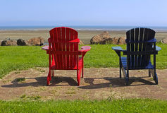 Beach Chairs Blue Red Summer Scene Royalty Free Stock Image