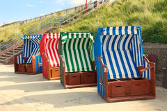 Beach chairs on Borkum island Royalty Free Stock Photo