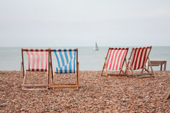 Beach Chairs. In Brigthon seaside Stock Image