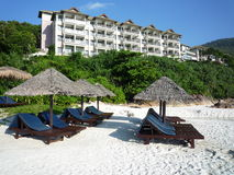 Beach chairs and cabana Royalty Free Stock Image