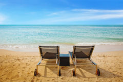 Beach chairs for couple Stock Image