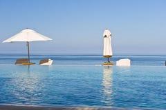 beach chairs deck 库存照片